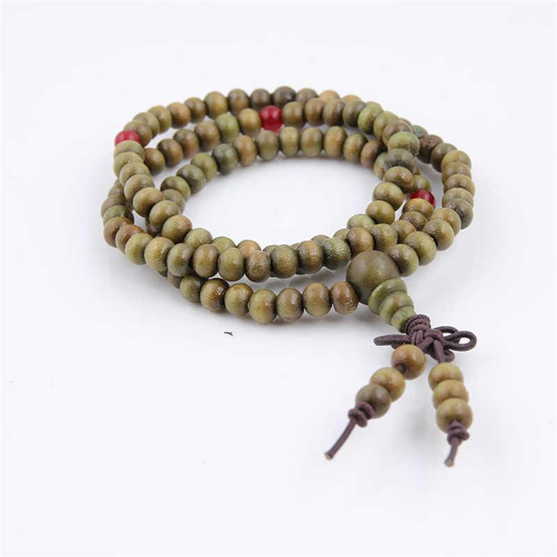 Vòng tay mala 108 Hạt 6mm Tự Nhiên Gỗ Đàn Hương Phật Giáo Phật Gỗ Vòng Tay Nam Nữ Phối Nút Thiền Cầu Nguyện Vòng Tay Trang Sức BIJOUX