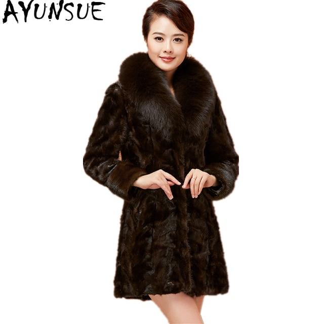 5ed937bb00961 AYUNSUE Luxury Real Mink Fur Coat Natural Fur Jacket Female Genuine Fox Fur  Collar Long Slim Winter Coats Women Plus Size YQ1674