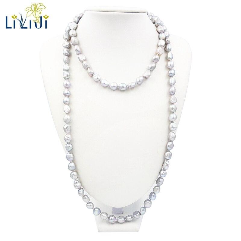 Lii Ji Grau Barock Süßwasser Perle 10-12mm über 120 cm Lange Eleganz Halskette