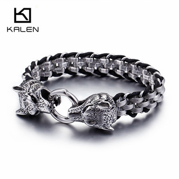 KALEN Punk Animal Wolf Charm Bracelets Men Stainless Steel Pulseira Masculina Leather Wristband Boho Jewelry