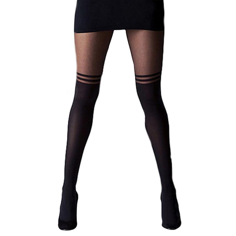 Women Cool Mock Over The Knee Double Stripe Sheer Black Sexy Temptation Sheer Mock Suspender Pantyhose Tights W5