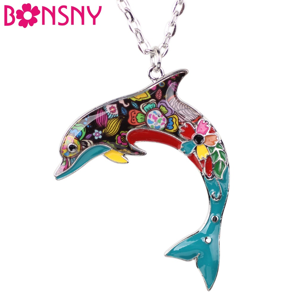 Bonsny OCEAN Collection Maxi Statement Metalllegering Choker Dolphin Halsband Kedja Collar Pendant Mode Nya Emalj Smycken Kvinnor
