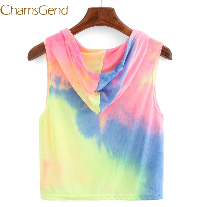 Chamsgend Sexy Print Hooded Crop Summer tank top women Plain Round Neck Sleeveless Tie Front Ribbed Crop Tank Top 77#