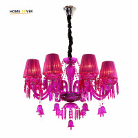 New Luxury K9 Crystal Chandeliers Lighting Pink Candle LED Pendant Hanging Living Room Lustres De Cristal Lamp Fixtures Kid room