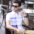 2016 Nuevo estilo ocio de los hombres camisa de polo de manga corta a cuadros de moda de verano