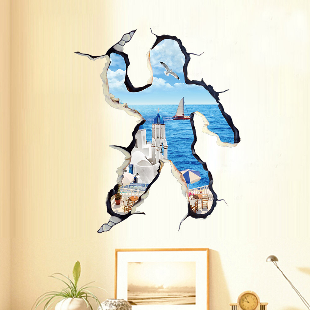 Aegean Person Broken Wall Style Sitting Room Bedroom D Wall - Wall decals carscartoon cars break through wall art mural decor sticker cracked