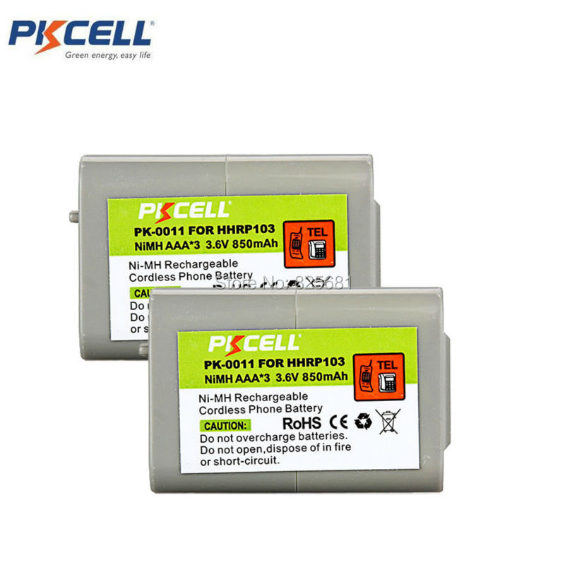 2pcs PKCELL Ni-MH Battery Pack AAA*3 850mAh 3.6V HHR-P103, HHRP103 Cordless Phone Battery For HHR-P103 (PK-0011) bp 208 compatible 850mah battery pack for canon mvx1sidc10 dc20 more