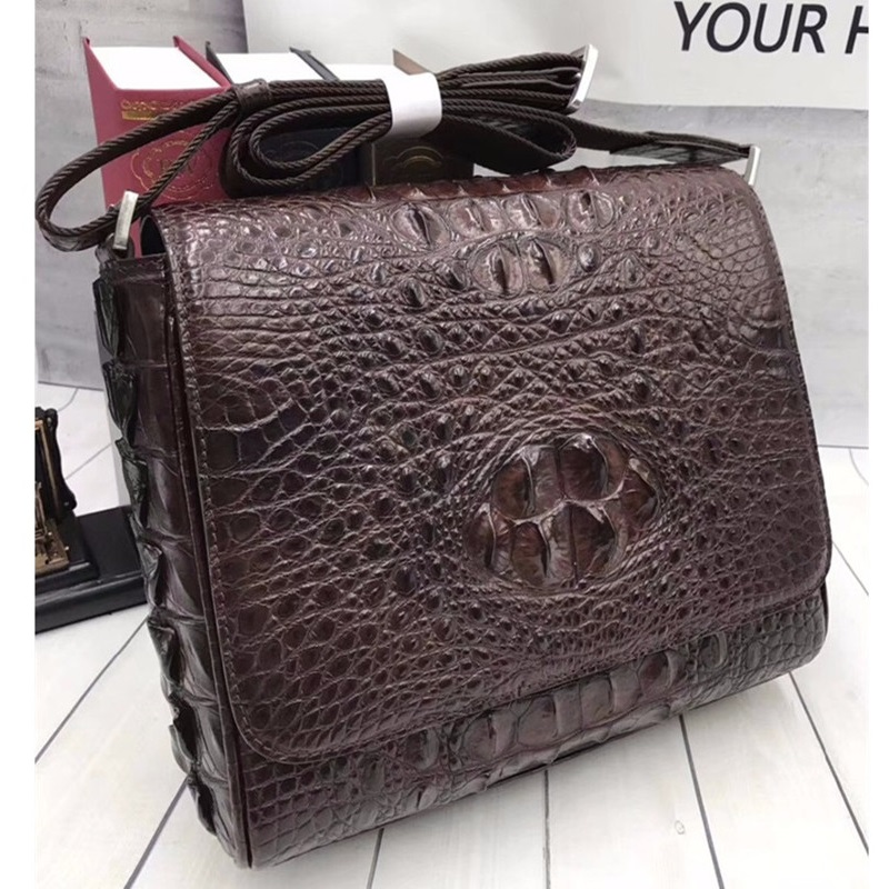 Casual Designer Genuine Crocodile Skin Alligator Leather Men's Small Brown Flap Bag Male Single Shoulder Bag Man Messenger Bag
