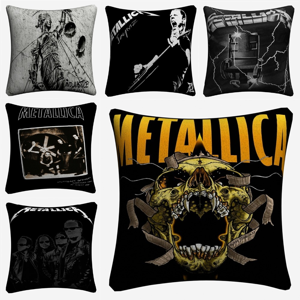 Metallica Music Band Decorative Cotton Linen Cushion Cover 45x45cm Pillow Case For Sofa Chair Pillow Cover Home Decor Almofada