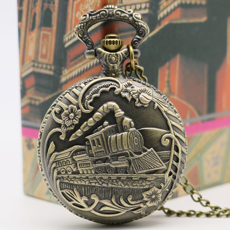 Retro Mænds Pocket Watch Bronze Train Front Locomotive Engine Quartz - Lommeur - Foto 4