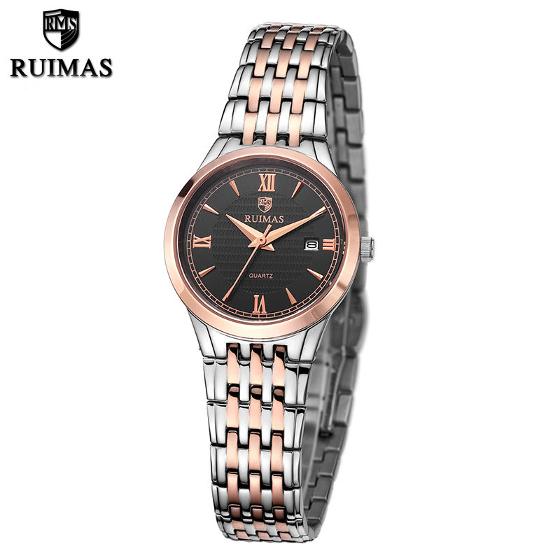 RUIMAS Business Ladies Watch Relogio Feminino Fashion Stainless Steel Quartz Women Watches Reloj Mujer Wrist Watch for Girl megir brand luxury simple women watches stainless steel watch women quartz ladies wrist watch gold relogio feminino reloj mujer