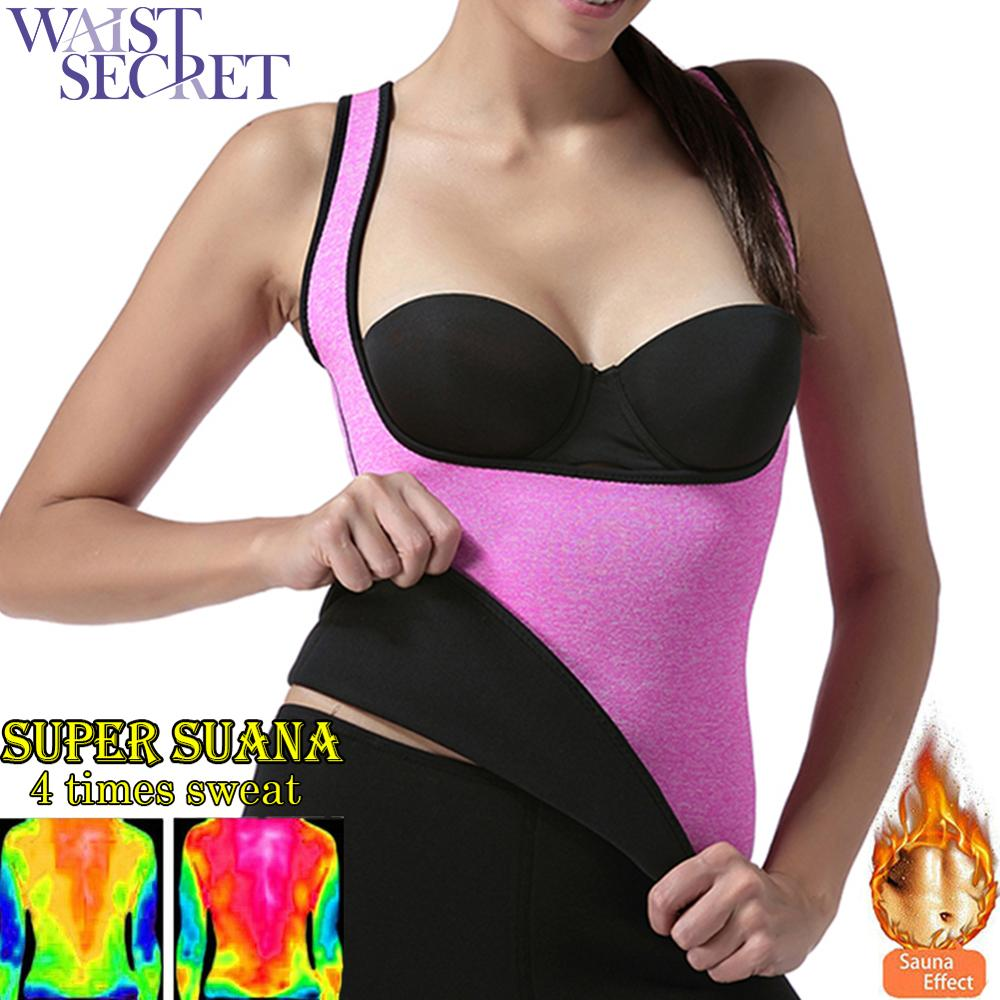 WAIST SECRET Women Sweat Shaper Neoprene Vest Sports Corset Fitness Running Buckle Bodysuit Tops Waist Cincher Reduce Fat
