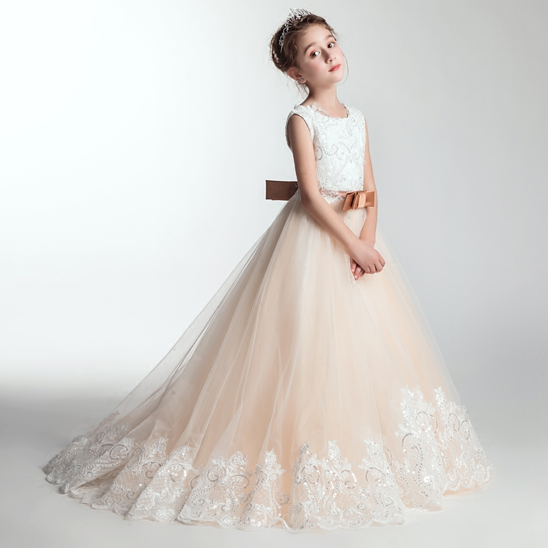 Fashion Flowers Girls Dress Bow Tie Champagne Wedding Pageant 2018Summer Princess Birthday Party Dresses Children Clothes 3-15 new autumn pearls bow flowers girl party dress wedding birthday girls dresses tutu style princess clothes for children 3 9t