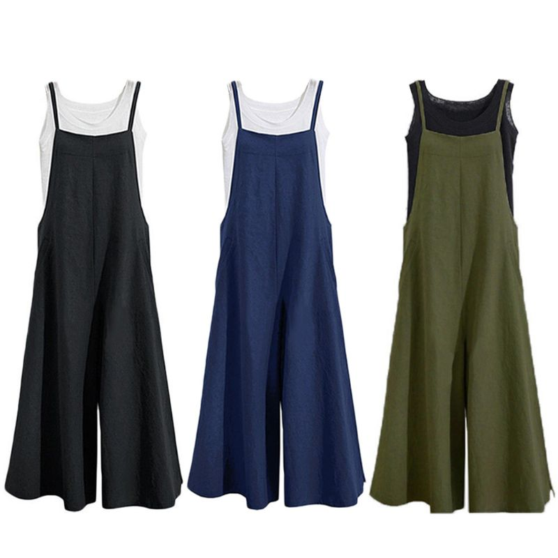 Women Loose Cotton Linen Dungaree Solid Short Overalls Casual Suspender Overalls Bib Trousers   Wide     Leg     Pants