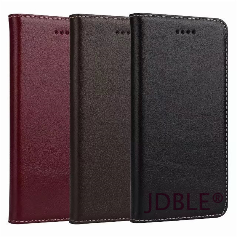 JDB New Flip Cases For Apple iPhone7 7Plus Luxury Real Genuine Leather Wallet Card Pocket Cover Back Case For iphone8 8Plus IP X ...