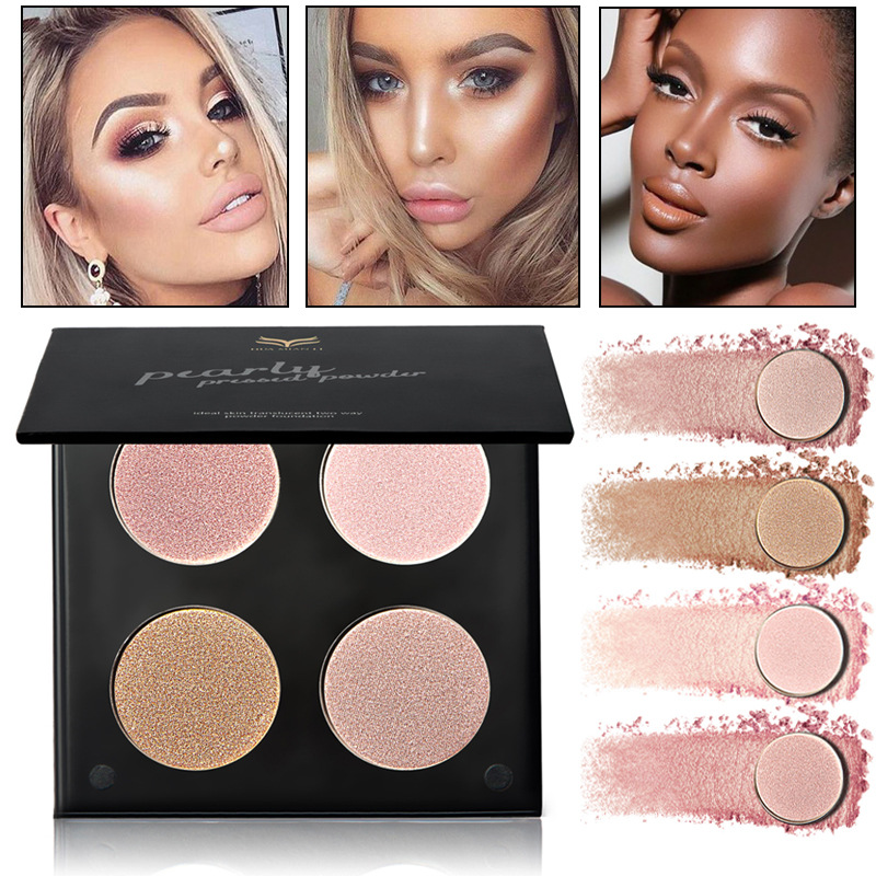 4 color Professional Corrector Face Brighten Highlighter Palette Minerals Cream Bronzer Highlighters Contouring Makeup Palette