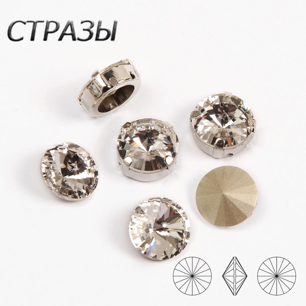 Rivoli K9 Crystal Rhinestones Glass Bright Sew On Rinestone Sliver Gold Setting Base With Hole Diy Clothing Accessories