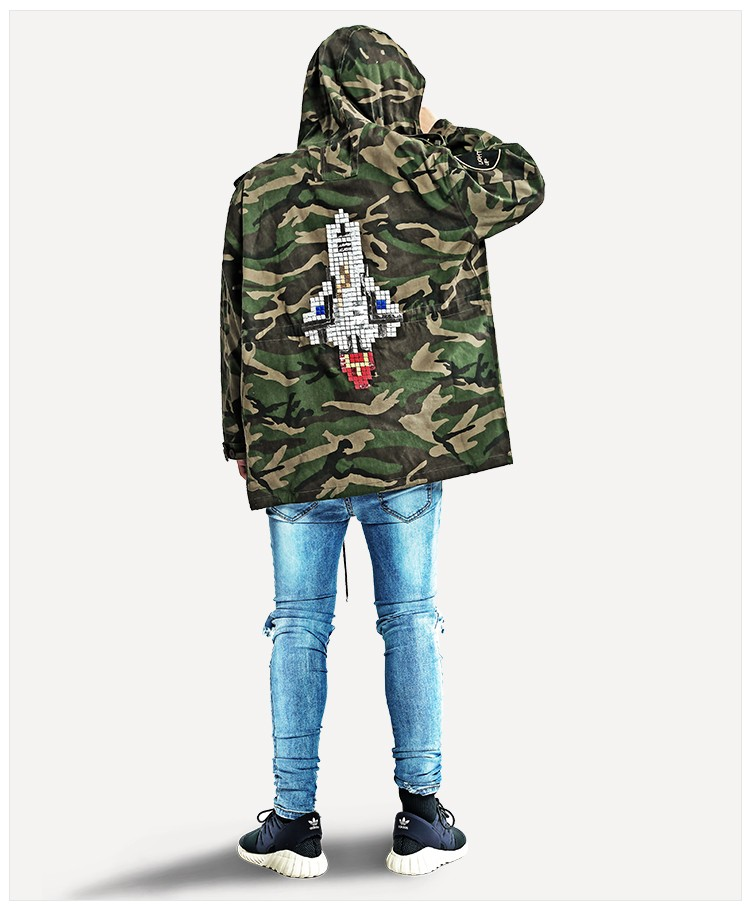 Aolamegs Camouflage Jacket Men Justin Bieber Style Rocket Embroidery Windbreaker Medium-Long Hooded Trench Coat Plus Size S-XXXL (14)