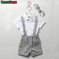 新生児の赤ちゃん男の子カジュアル服スーツ紳士スタイル短い白い袖シャツ+サスペン