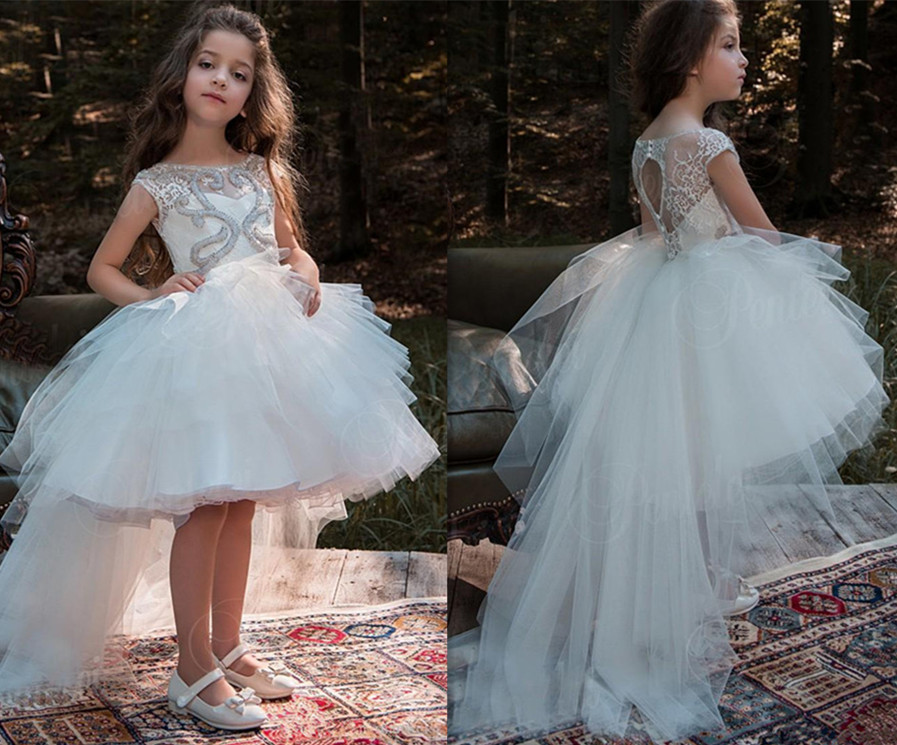 2018 New Crystal Flower Girls Dresses For Weddings Lace Appliqued Princess First Communion Dress Pageant Gown 2017 new flower girls dresses for weddings jewel lace appliques princess girls pageant dress first communion dress