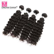 Dream Diana Brazilian Deep Wave 4 Bundles Wet And Wavy Brazilian Hair Deep Curly Bundles Brazilian Mink Hair 30 Inch Deep Wave(China)