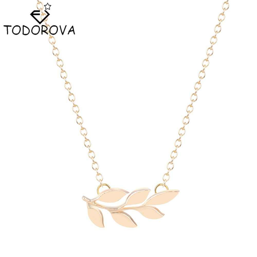 Todorova Wholesale Pretty Organic Laurel Leaf Necklace Olive Branch Friends Forever Necklace Birthday Gift Symbol of Peace