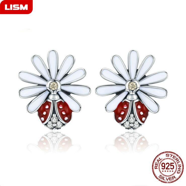 Childrens 925 Sterling Silver Ladybird Ear Studs So Chic Jewels