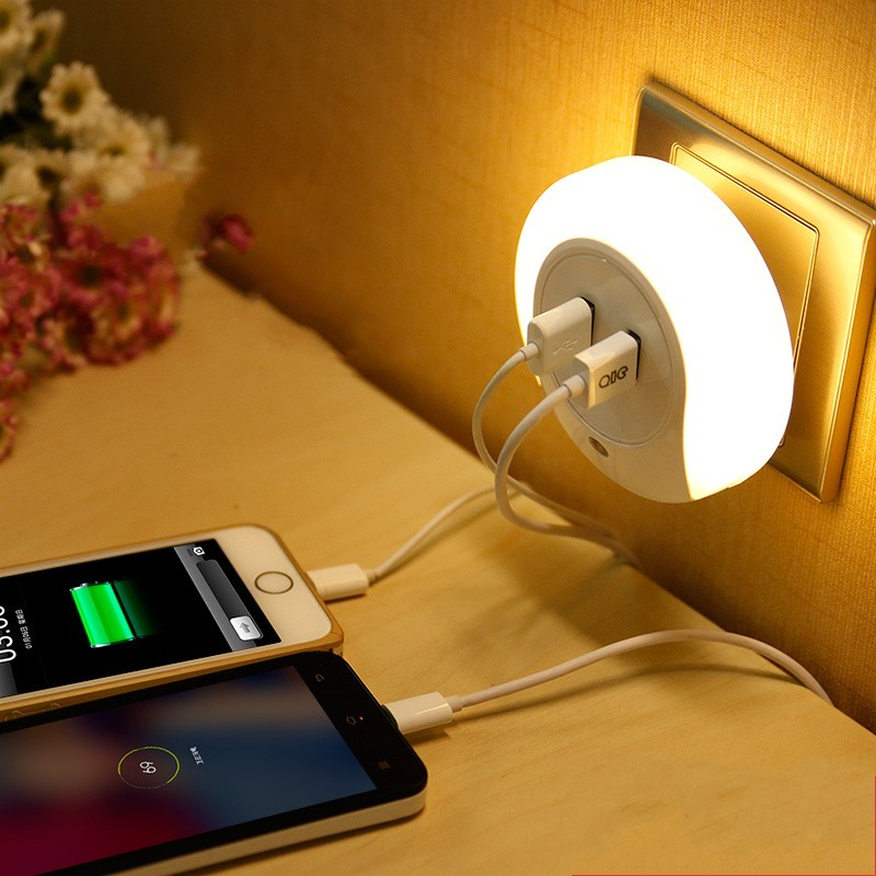 FENGLAIYI EU/US Plug Luminarias LED Night Light Sensor 2 USB Charging Socket Mobile Phone Charger Bedroom Night Lamp Led brelong creative light switch sensor led night light with dual usb 5v wall board charger mobile phone night light eu us 110 240v