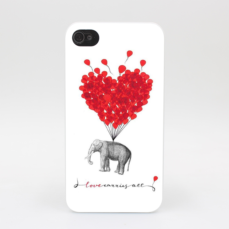 648HY Love Carries All Elephant Hard White Case Cover for iPhone 4 4s 5 5s 5c SE 6 6s Plus Print