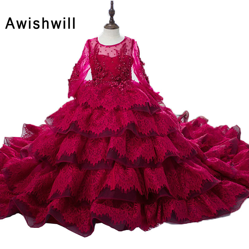 New Arrival 2020 Burgundy Flower Girl Dresses Ball Gown Long Sleeve Lace Princess Pageant Dresses For Girls Communion Dresses