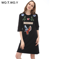 High Quality Autumn Thick T Shirt Dress Women Flower Animal Embroidery Cotton Casual Dresses Loose Black