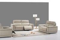 Koe real/lederen bankstel woonkamer sofa sectionele/hoekbank set meubelen couch/1 + 2 + 3 zits fauteuils