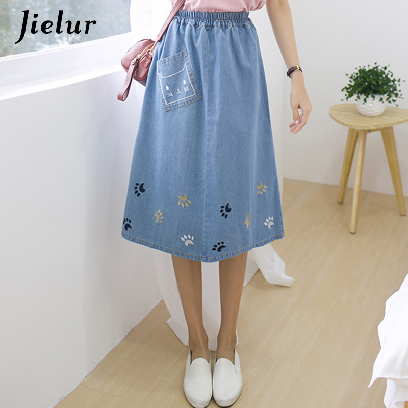 Jielur Harajuku Cat Embroidery Kawaii Skirts Summer Japan Style Saia Jeans Feminina Fashion S-L Loose Denim Skirt Women Dropship