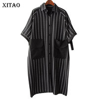 XITAO 2018 Europe New Summer Casual Women Letter Striped Print Long Shirts Female Big Pocket