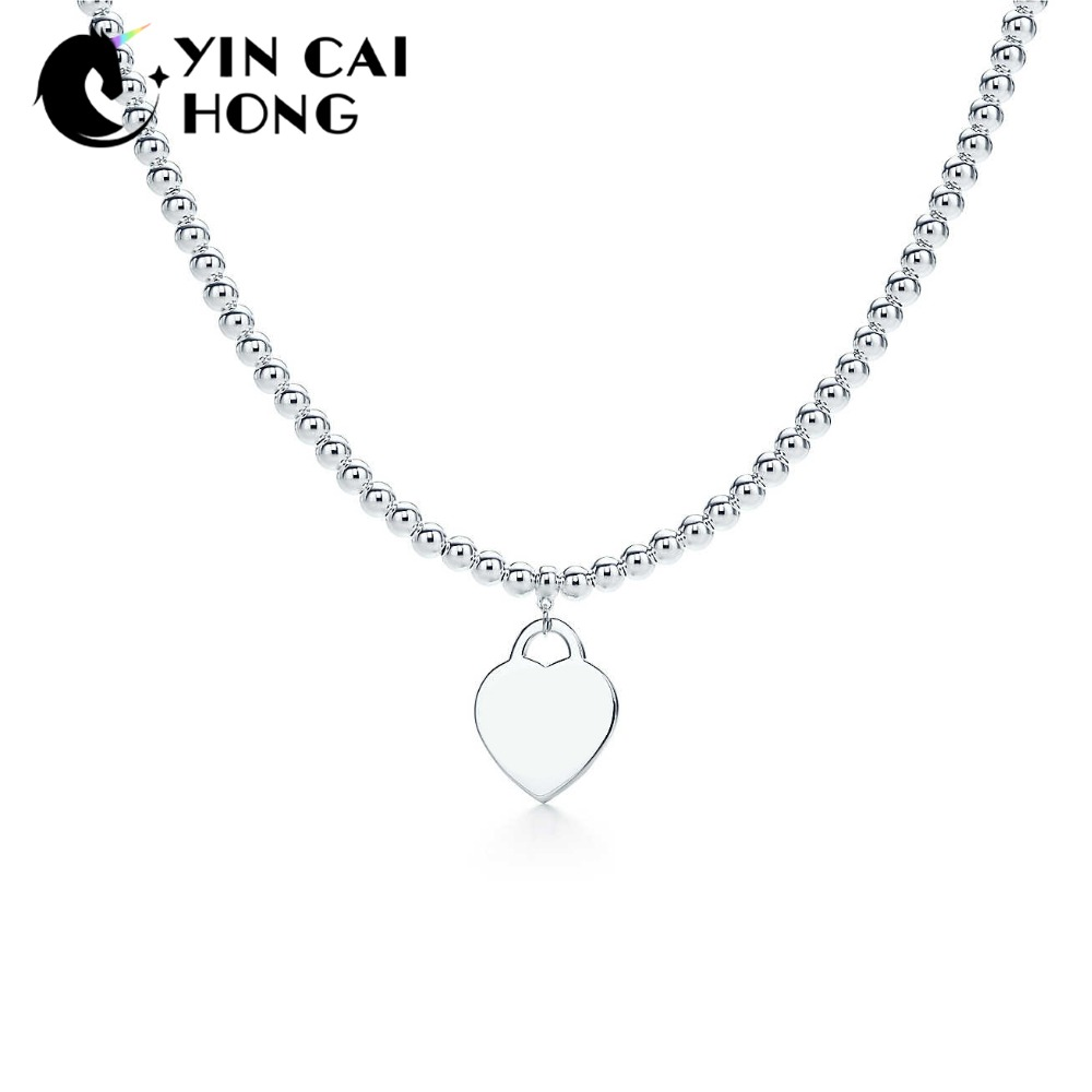 YCH Charm 925 Sterling Silver Charming Delicate Heart-Shaped TIFF Pendant Necklace Women's Original Jewelry Ball Gift Necklace rolilason minimalist design 925 sterling silver pink heart shaped zircon pendant necklace party gift sp75
