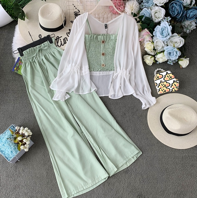 TAOVK Fashion Suit Female Summer Camisole + High Waist Wide Leg Pants Trousers + Sunscreen Cardigan Jacket Three-piece Suit