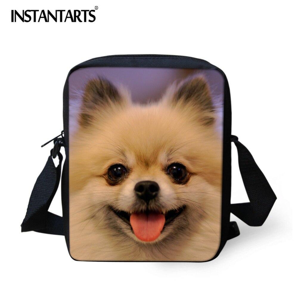 INSTANTARTS Pomeranian 3D Printing Children Mini Crossbody Bags Girls Boys Kindergarten School Bookbag Brand Design Shouler Bag