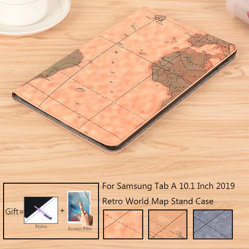 Retro World Map Case For Samsung Galaxy Tab A 10.1 SM-T515 T510 2019 Stand Tablet Case T515 T510 Flip Magnetic Cover Capa Funda
