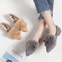495d5ddcabd26 Real Rabbit Fur Moccasins Women Bowtie Flats Plush Fur Shoes Fringe Loafers  Ladies Espadrilles Furry Ballet Creepers Warm Winter