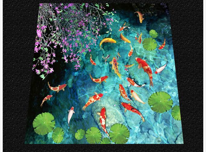 Papier peint photo personnalisé 3d revêtement de sol peinture papier peint étang d'eau carpe salle de bain toilette 3 d chambre étage papier peint décoration - 4