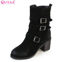 QUTAA 2018 Women Mid Calf Boots Fashion Buckle And Zipper Design Warm Linging Square High Heel