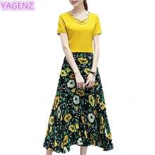 a474d648e81efd YAGENZ Summer Chiffon Dress Women 2 pieces Set Short sleeve Blouse+Floral skirt  Women Fashion