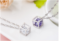 S925 Sterling Silver Romantic Gift For Love Dangle Cube Charme Pendant With Sri Lanka Zircon For