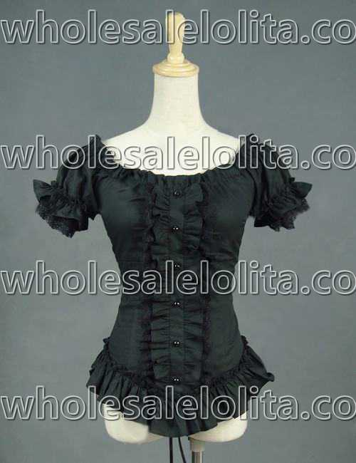 Gothic Blusa Victorian Negro Teatral Camisa Equipada Steampunk Wiccan Acanalada Bruja Punk a18qS5