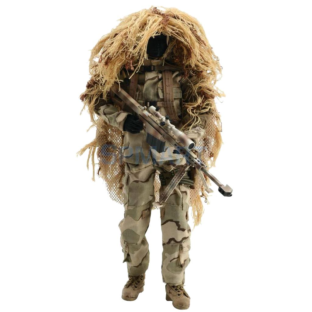1/6 Military Special Combat Sniper Desert Suit w. Accessories for 12'' Hot Toys ZY Toy Action Figures - ZY8016 100w 220v ac dc insulated ptc ceramic air heater ptc heating element electric heater 113 35 26mm