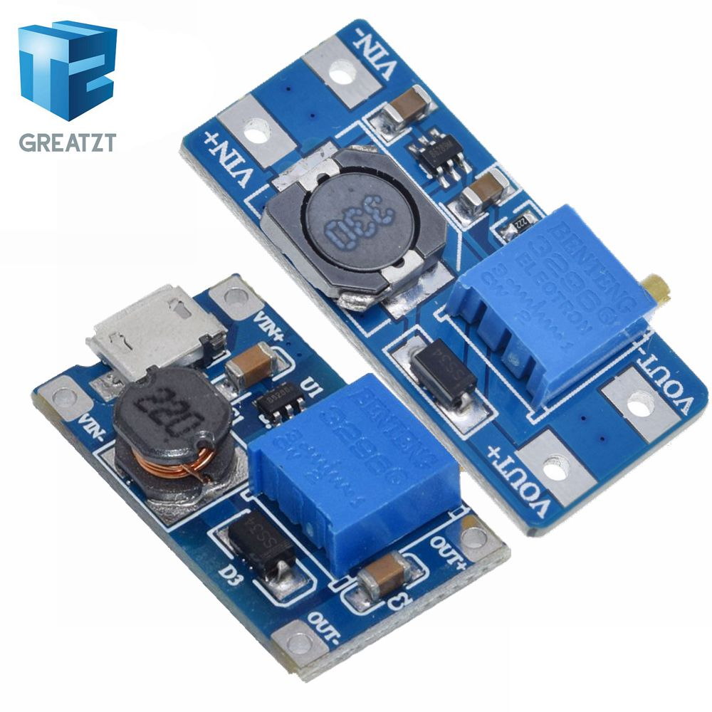 GREATZT 1PCS MT3608 DC-DC Adjustable Boost Module 2A Boost Plate Step Up Module With MICRO USB 2V-24V To 5V 9V 12V 28V(China)