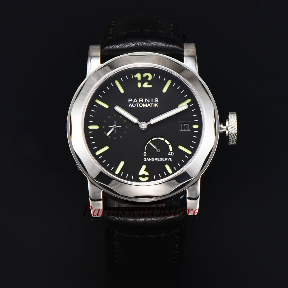 Men Watch 43mm Parnis Black Dial Green Dial Power Reserve Watches Sea-gull 2530 Automatic Movement Free Shipping