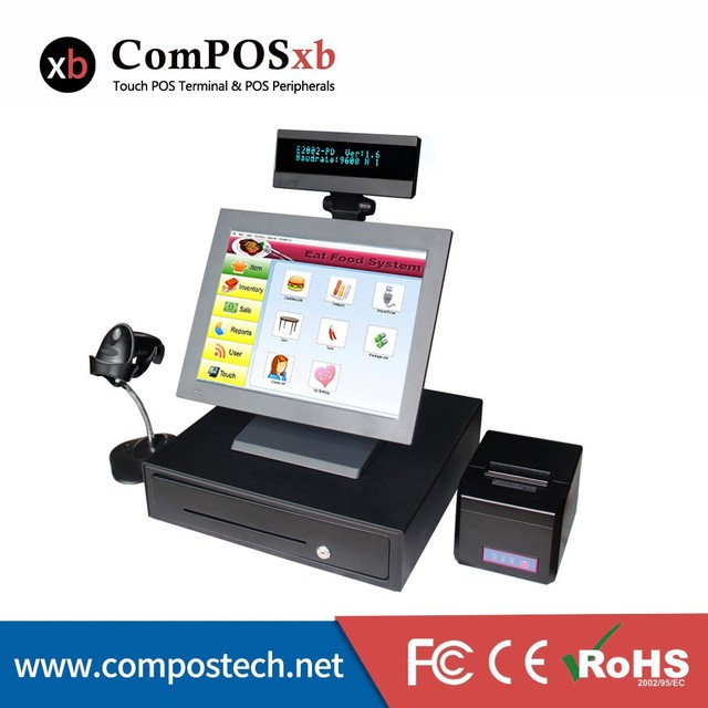 Full Cash Register Point Of Sale POS System With Cash Drawer Printer All In One Pos Machine