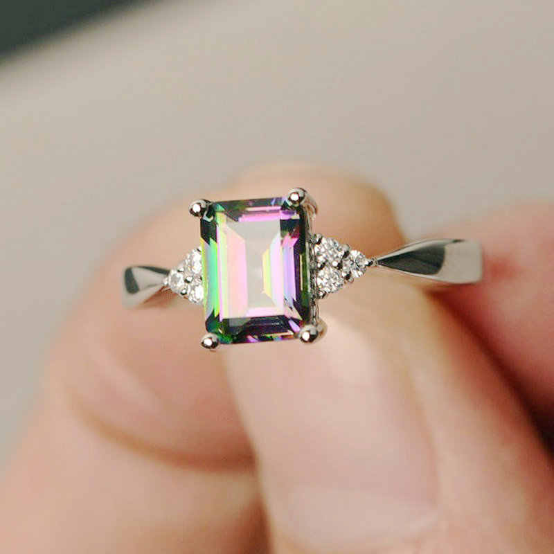 GB Rainbow Stone Sea Blue Zircon Ring Hot Sale Creative Personality Mosaic Colorful Gem stone Jewelry Women Men Zircon Ring