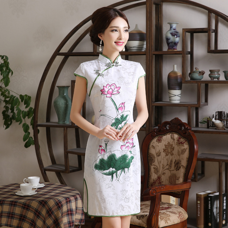 Female Summer Cheongsam Dress Lotus Cotton Chinese Style Traditional Costume Elegant Plate Buttons Slim Qipao Dresses